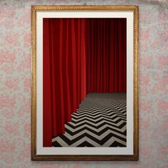Twin Peaks Poster Art, Red Room from the Black Lodge depicts a scene in Twin Peaks. Fire Walk with Me, the Good Dale is in the Black Lodge. The printed area is 11 x 17 in. on a 13 x 19 in.high quality 68lb. UltraPro Satin paper with premium quality inks and rated for years of vibrant color and durability.