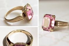 Vintage Pink Ring emerald-cut pink glass ring by 716Buffalos