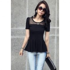 Sweet Style Scoop Neck Short Sleeves Flounce Design Solid Color Voile Splicing T-Shirt For Women