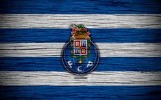 Download wallpapers Porto, 4k, Portugal, Primeira Liga, soccer, wooden texture, Porto FC, football club, logo, FC Porto