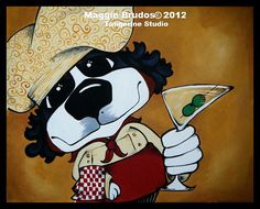 fat chef whimsical dog  art double olive by tangerinestudio, $45.00