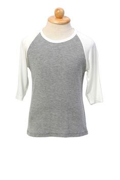 Grey baseball tshirt with three-quarter white raglan sleeves, made of super soft and lightweight cotton. Pair with denim jeans for a laidback, understated cool look. Also available in Black and White. ($18.90) http://www.missvanda.com/collections/boys/products/baseball-grey-white-tshirt?utm_source=Pinterest_medium=self_campaign=pinteresthome