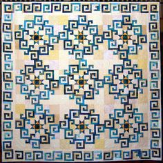 Aegean Sea quilt by the Brunswick Quilters' Guild.  Pattern from Stellar Quilts by Judy Martin.  Quilted by Barbara Hutton.