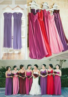 #red #purple #pink #ruby #lavender #dresses #bridesmaids #lovely