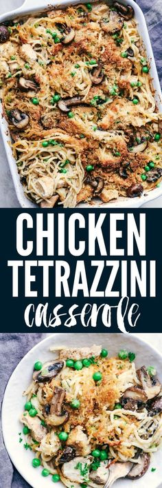 Chicken Tetrazzini Casserole is such a classic and comforting casserole. This is creamy, cheesy and hidden with fresh mushrooms and peas. Topped with parmesan cheese and crispy breadcrumbs this is the perfect casserole!