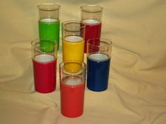 HENRY & MILLER KRAFTWARE GLASS SET 6 INSULATED COVER MCM RED YELLOW BLUE BARWARE
