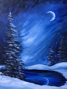 Join us for a Paint Nite event Mon Mar 2015 at 99 Sisson Avenue Hartford, CT. Purchase your tickets online to reserve a fun night out! Winter Painting, Winter Art, Diy Painting, Painting & Drawing, Winter Time, Christmas Paintings, Christmas Art, Painting Lessons, Painting Techniques