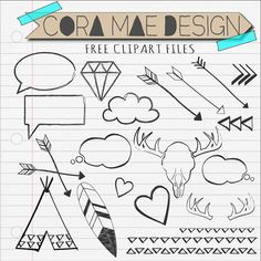 Doodles clipart, Antlers, arrows, hearts, tee-pee, 21 PDF files. PNG upon request. 300 dpi. Instant download. Transparent background. via Etsy