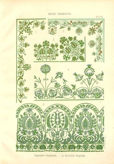 Hungarian Embroidery Patterns Free Clip Art and Digital Collage Sheet - Magyar Ornament Hungarian Embroidery, Folk Embroidery, Learn Embroidery, Embroidery Patterns Free, Cross Stitch Patterns, Embroidery Designs, Polish Embroidery, Chain Stitch Embroidery, Embroidery Stitches