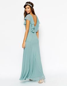 Image 2 ofASOS WEDDING Maxi Dress With Soft Frill And Seam Detail