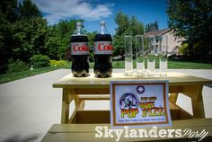 Skylander Birthday Party - The best Skylanders Game at the Party.  Drop a few mentos in a Diet Coke jar and it is an explosion!