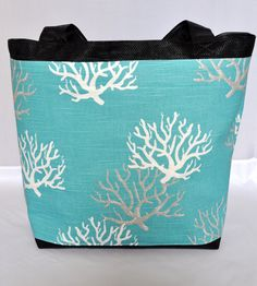 Beautiful BaBlue Coral Print Beach Bag by Salato on Etsy, $40.00