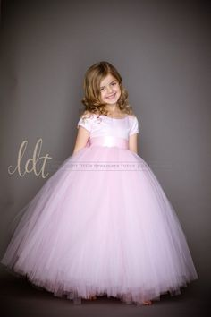 The Sophia Dress with Short Sleeves in Light Pink - Flower Girl Tutu Dress
