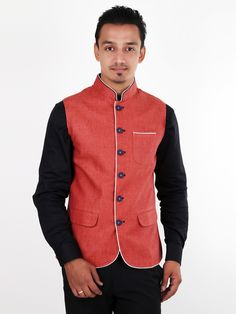 Xposed Orange Linen Men Plain Waistcoat