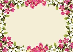 pink floral borders | free digital flower frame png and flower frame journaling card ...: