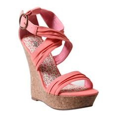 #Coral Corkscrew #Wedge #Shoes
