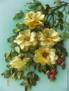 *RIBBON ART ~ Vetka fragrant tea roses: yellow flowers, buds, ripe fruit ..Rabota framed in glass and prints. Exclusive embroidery and gift-worthy addition to the interior.