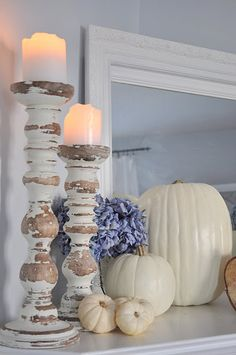 The Little Corner - Fall mantel idea - those candlesticks are my favorite!