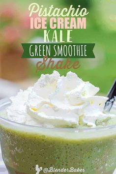 This vegan Pistachio Ice Cream Kale Green Smoothie Shake by my friend Tess aka The Blender Girl is one of Blender Babes go to green smoothie recipes when we want something extremely tasty and satiating. The texture of this green smoothie is JUST like a Healthy Green Smoothies, Yummy Smoothies, Flaxseed Smoothie, Pistachio Ice Cream, Fruit Smoothie Recipes, Dessert Recipes, Milkshake, Cancer, Desert Recipes