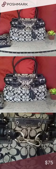 """Coach Purse Nice coach purse in black and white Penelope signature design. Cute braided belt design with tassel and nickel hardware. Black lining interior. Zipper closure. Clean with no stains inside or out.  Black handles. In excellent condition. Approximately 12"""" wide and 8"""" tall. Coach Bags Totes Coach Purses, Coach Bags, Braided Belt, Signature Design, Fashion Tips, Fashion Design, Fashion Trends, Tassel, Totes"""