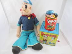 Vintage LOT POPEYE Winding Doll Jack in the Box Tin Spinach Toy KING MATTEL USA #Mattel