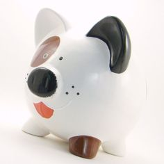 Personalized Piggy Bank  Puppy Dog  Black White Brown by ThePigPen, $42.50