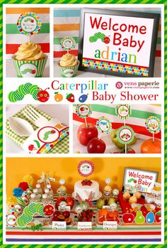 very hungry caterpillar baby shower by www.venspaperie.com