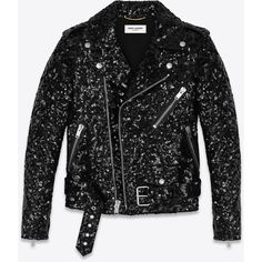 Saint Laurent Classic Motorcycle Jacket ($12,955) ❤ liked on Polyvore featuring men's fashion, men's clothing, men's outerwear, men's jackets, jackets, outerwear, mens leather moto jacket, mens sequin jacket, mens leather biker jacket and mens leather jackets