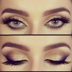 Golden with blue is the inspirational makeup for today.  Dourado com azul é make de inspiração de hj.
