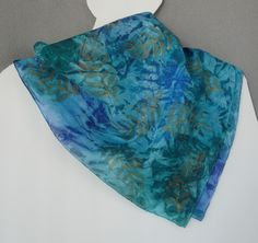 Silk Scarf, Handpainted, greens & blues, Forest Ferns - pinned by pin4etsy.com