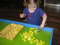 YELLOW Activities- Fine Motor activity using yellow pompoms and mini tongs