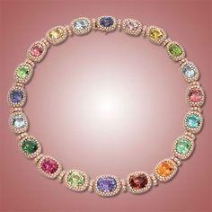 "Eclat Jewels: ""Happy Necklace"" Gemstone and Diamond Necklace"