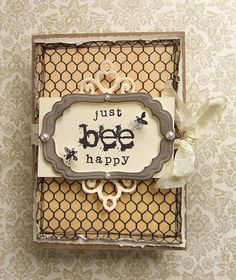 "Shabby Just ""Bee Happy"" Card... This would make a cute canvas / cute ATC card Brenda?"