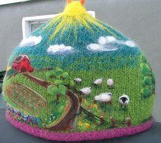 """Little Felt-Tea Farm"". Needle-felted tea cozy by Rhonda the Stitchingnut."