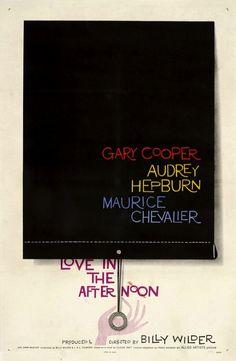 """1950 cinema posters // Love in the Afternoon // """"Na década de 1950 começamos a ver designers de cartazes tentando aproximações conceituais"""", Love in the Afternoon """"é livre de personagens, enfatizando tipografia e pistas subtis quanto ao conteúdo do filme formando o fundo."""""""