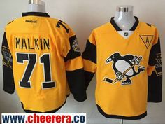 Men's Pittsburgh Penguins #71 Evgeni Malkin Yellow 2017 Stadium Series Stitched NHL Reebok Hockey Jersey