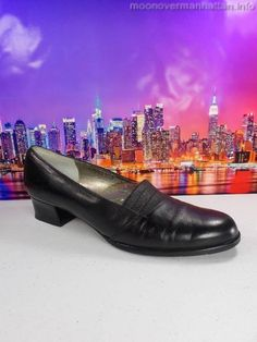 Womens shoes ROS HOMMERSON Dress Stretch Casual Heels 7.5 S BLK Leather Slip On