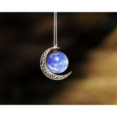 Silver hollow star galactic cosmic moon necklace b ($19.9)