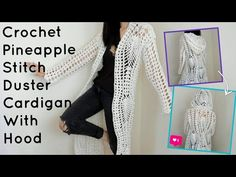 Crochet Pineapple Stitch Duster Cardigan with Hood Crochet Cardigan Pattern, Crochet Shirt, Crochet Jacket, Crochet Vests, Crochet Sweaters, Easy Crochet, Free Crochet, Crochet Edgings, Crochet Tops