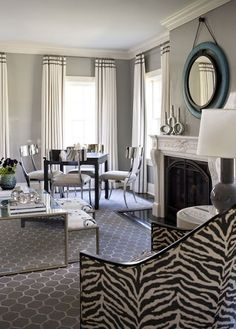 Relaxing Contemporary Living & Family Room by Lauren Muse Grey Walls Living Room, Window Treatments Living Room, Room Inspiration, Family Room, Floor To Ceiling Curtains, Family Living Rooms, Living Room Modern, Modern Room, Living Room Windows