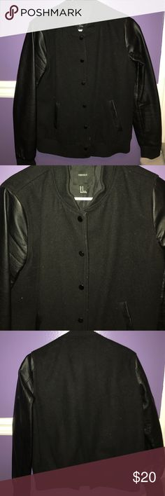 Black Varsity Jacket Black varsity jacket with leather sleeves. Forever 21 brand oversized. Great condition no trades Forever 21 Jackets & Coats