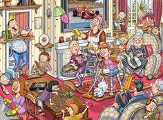"""Otro reto de la colección misterios de Wasgij, marca Jumbo.  """"¿Qué pasa después?"""" Concepto de puzzle donde deberás utilizar tu imaginación para reconstruir lo que sucederá después de la catástrofe. Toda la familia dice: «Cosas que hacer juntos!"""" Todos se ponen mano a la obra para dejar la casa está impecablemente limpia. La limpieza está acabada y Papá piensa que es hora de un merecido descanso y prepara la bandeja de bebidas ¿Qué puede ir mal? Haz el puzzle y lo descubrirás."""