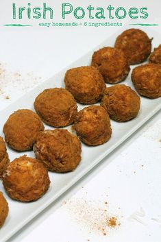 Potatoes, A Candy Irish Potatoes recipe - easy homemade recipe with 6 ingredients - perfect for St. Patrick's DayIrish Potatoes recipe - easy homemade recipe with 6 ingredients - perfect for St. Winter Desserts, Great Desserts, No Bake Desserts, Delicious Desserts, Easy Irish Desserts, Asian Desserts, Party Desserts, Easy Potato Recipes, Easy Homemade Recipes