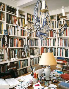 Carolina Irving Library Dining Room -  Lunch & Latte: textile designer Carolina Irving's Manhattan home