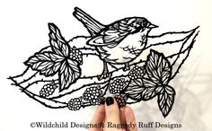 Woodland Bird and Blackberries Paper Cutting Template for