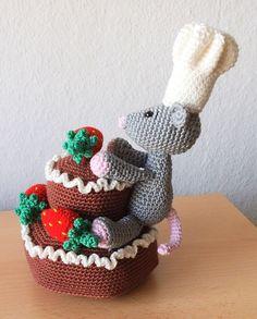 Erdbeer-Schokotorte mit Mäusebäcker - häkeln