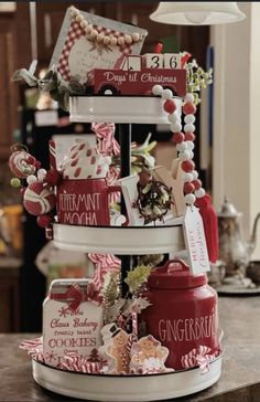Christmas House Decorations Inside, Valentines Day Decorations, Valentines Diy, Woodland Christmas, Noel Christmas, Holiday Crafts, Holiday Decor, Tier Tray, Christmas Kitchen