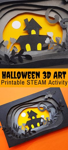 Halloween Paper Craft in (FREE Printable) - Create your own art with our printable Halloween paper craft templates. This super fun Halloween - Halloween Tags, Printable Halloween, Theme Halloween, Halloween Paper Crafts, Halloween Activities For Kids, Halloween Scene, Paper Crafts For Kids, Art Activities, Projects For Kids