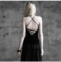 0fa64b92671 Punk Rave Women s Round Collar Lace Up Backless Tank Tops T 296 Punk Rock  Fashion