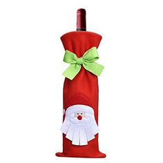 Hoomall 1PC Housse de Vin Couverture Bouteille de Vin Père Noël Rouge: Taille : 35.5x12.5cm Idéal pour la décoration de Noël ou cadeau de…